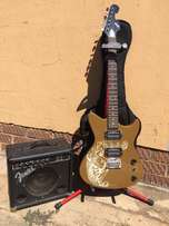 first act electric guitar with amp bag and cable