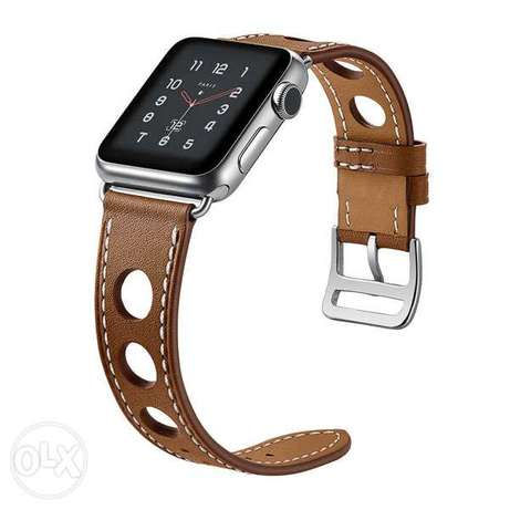 Leather Watchband 42mm for Apple Watch Series Replacement, Coffee