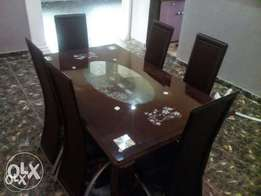 WD Six Seater Glass Dining Table (New