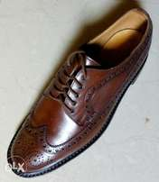 Coffee brown leather Brogues men shoe