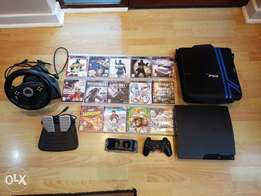 ps3 console with bag+a controller+14games+racing wheel+dock charger