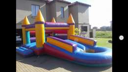 Jumping castle with slide and pond for hire