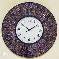 Unique full marble mosaic wall clock matching mirrors available