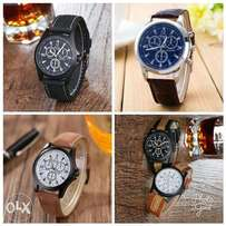 Quartz digital leather wristwatch