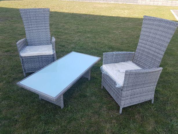 Dwa Fotele Rozkładane Stolik Meble Ogrodowetarasowe