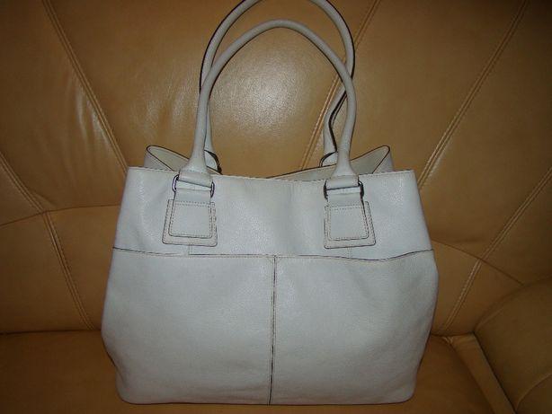 Duża, skórzana, biała torebka skóra naturalna, format A4
