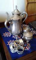 Silver Tea Set & 6 Silver Napkin Rings