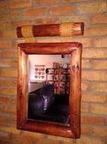 Wooden Framed Mirror with Leather Straps