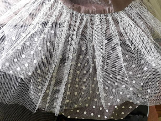542e8b9dcd Sukienka koktajlowa brązowa w białe grochy tiul rozmiar XS S Myślibórz -  image 5