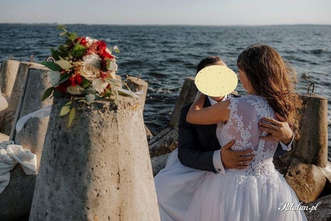 Suknia ślubna Litera A Muślin Uszkodzona Biała 36 Koronka Rustykalna
