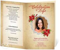 funeral program printing and designing best quality 60 bob