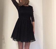 9cd42d69c7 Sukienka Mohito M czarna koronka rozkloszowana suknia rękawek