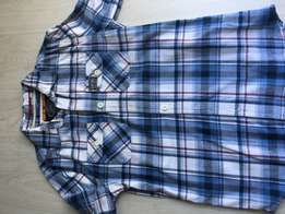 Bargain Superdry blue check shirt large