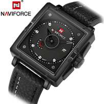 Leather strapped with square faced Naviforce