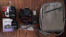 Canon 450D SLR and Lowepro bag with 18-55mm lens and 55-250mm lens