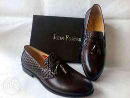 Brand New Burcless Dark Brown Check-designed John Foster Shoe