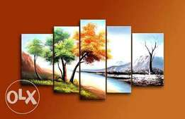 Land and seascape hand painted arts-five pieces