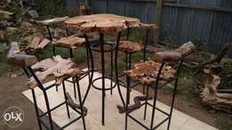 Bar stools and a table
