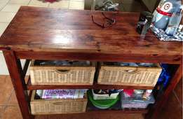 Butcher block and baskets