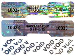 30 X DOGBONE / DUMBELL Hologram Numbered Security Stickers / Labels