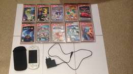 PSP, Charger, Cover and 10 games