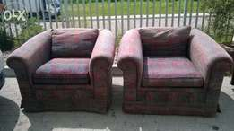 Fully Upholstered Burgandy and Brown 1 Seater couch