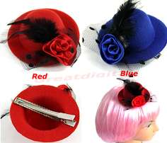 Lady's Mini Hat Hair Clip Feather Rose Top Cap Lace fascinator Costume