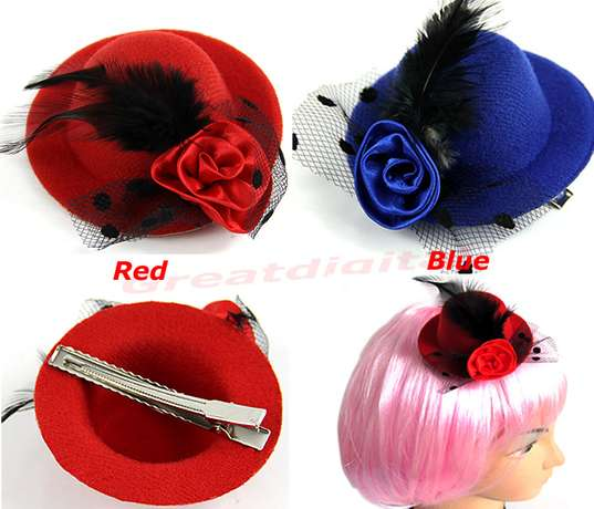 Lady's Mini Hat Hair Clip Feather Rose Top Cap Lace fascinator Costume River Club - image 1