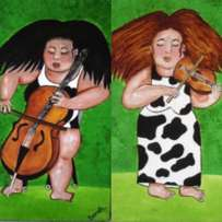 Two Wild haired ladies chello and violin paintings 55 x 37 cm each
