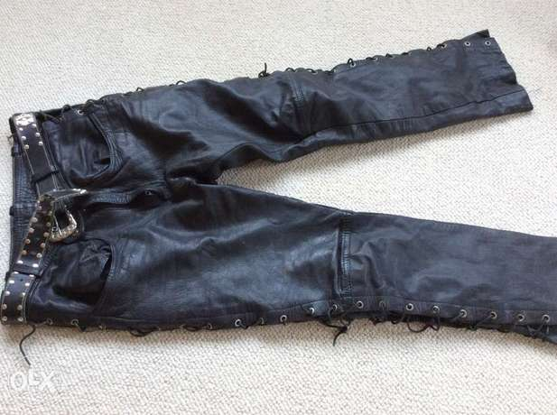 Leather jeans Mens. Vintage side laced waist 33/34. Length 34 Sandton - image 1