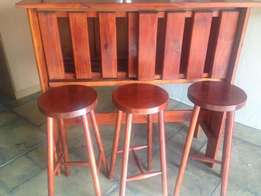 Wooden Bar Top and 3 Stools