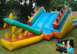 Jumping castles,water slides and party foam machine with pit