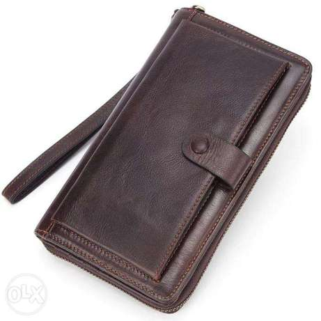 Male Clutch Genuine Leather Men's Wallet Long Wallet Brand Cowskin Car