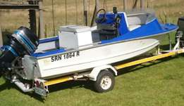 Fishing boat with 85hp mercury