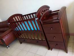 Baby cot two level white 13k brown mahogany 15k