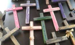 Weather treated wooden crosses