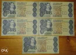 Nice lot of 5 S.A 1980's R2 notes