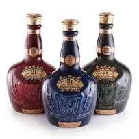 Chivas Regal 21 Year set of 4 Ruby Brown Sapphire and Emerald Flagons