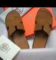 Hermès Slippers Brown Leather
