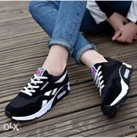 Ladies Fashion Lace Up Sneakers - Black Reebok