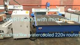 ps 2mx3mx3kw water cooled cnc routers 220v