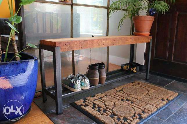 [ Industrial steel design - bench with shoe rack ]