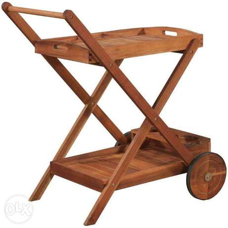 Acacia Wood Rolling Island Tea Serving Cart خشب متين