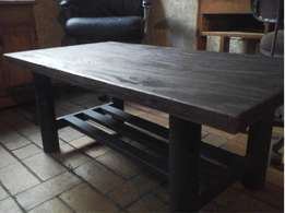 Steel and wooden coffee table.