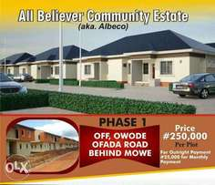 250k per Plot Xmas Promo At All Believers Community Estate