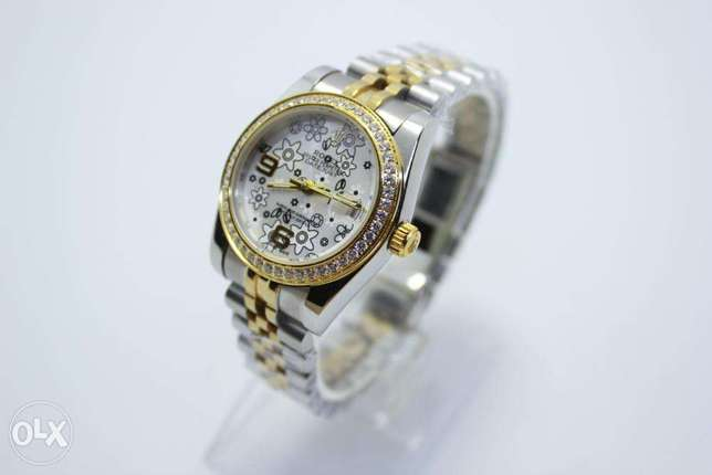 Datejust Half Gold White For women ساعة حريمي