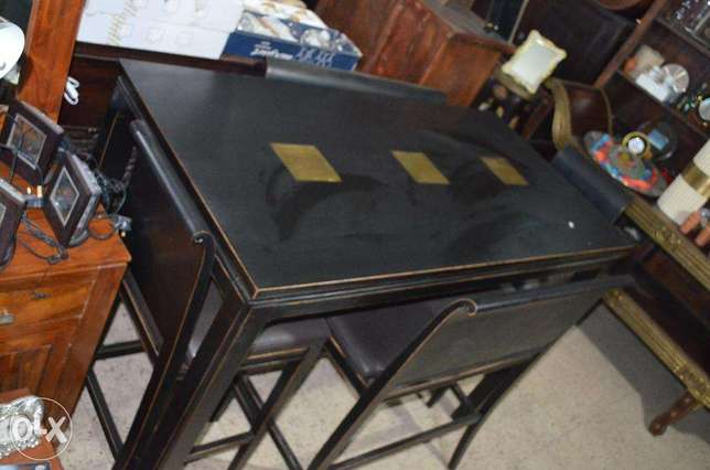 solid wood black table with 4 chairs