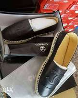 Black leather Chanel espadrilles casual shoes