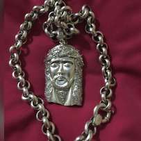 Authentic Silver Sterling Necklace with Studded Jesus Piece Pendant