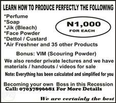 Learn how to produce perfectly the above,each for just 1thousand naira